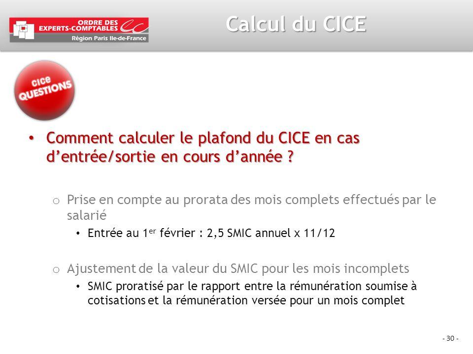 - 30 - Calcul du CICE Comment calculer le plafond du CICE en cas dentrée/sortie en cours dannée ? Comment calculer le plafond du CICE en cas dentrée/s