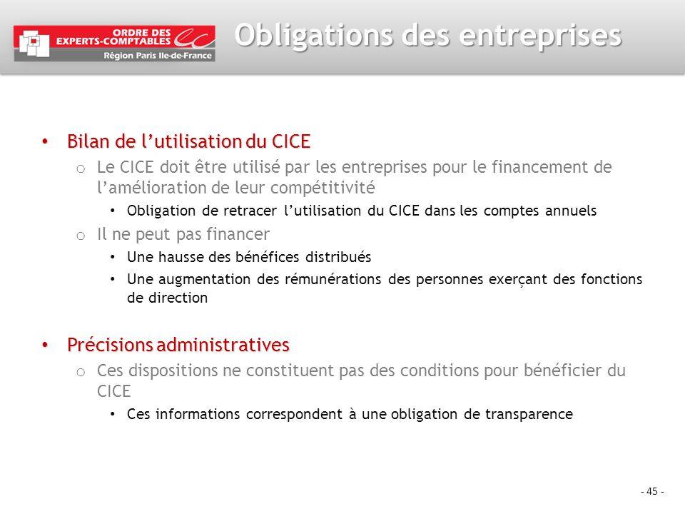 - 45 - Obligations des entreprises Bilan de lutilisation du CICE Bilan de lutilisation du CICE o Le CICE doit être utilisé par les entreprises pour le