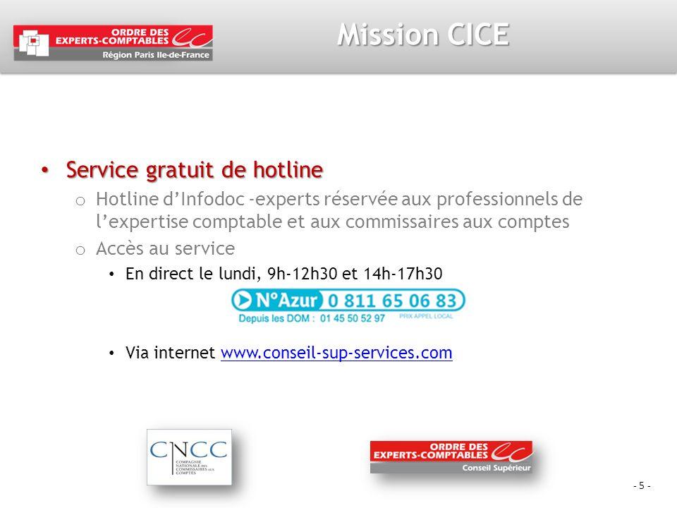 - 5 - Mission CICE Service gratuit de hotline Service gratuit de hotline o Hotline dInfodoc -experts réservée aux professionnels de lexpertise comptab