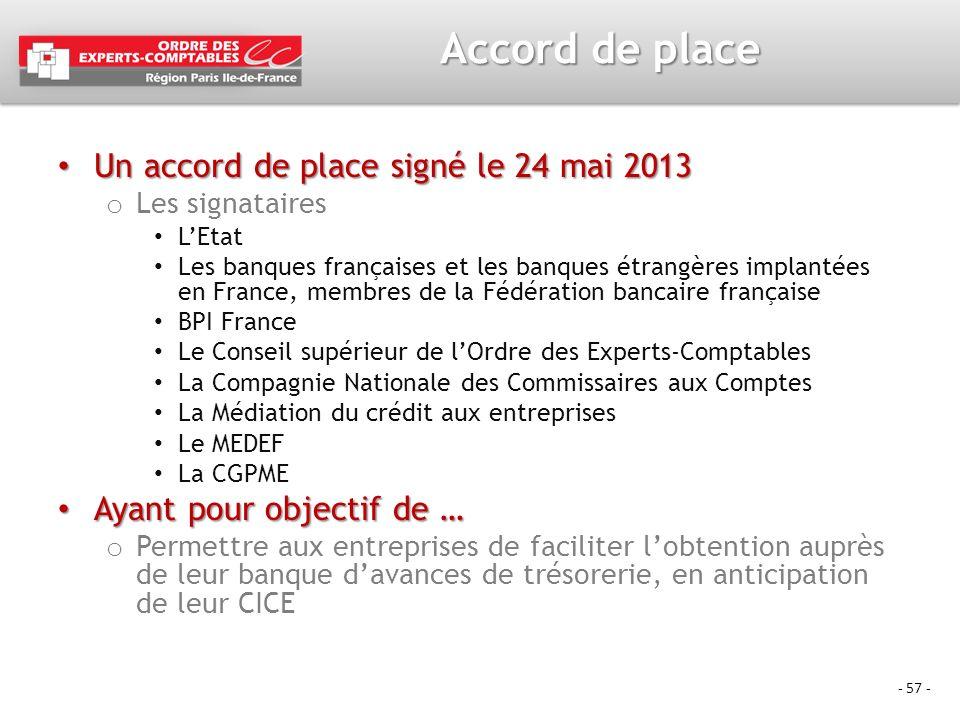 - 57 - Accord de place Un accord de place signé le 24 mai 2013 Un accord de place signé le 24 mai 2013 o Les signataires LEtat Les banques françaises