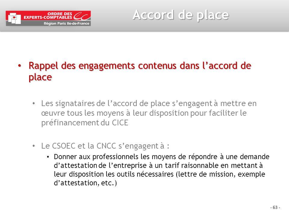 - 63 - Accord de place Rappel des engagements contenus dans laccord de place Rappel des engagements contenus dans laccord de place Les signataires de