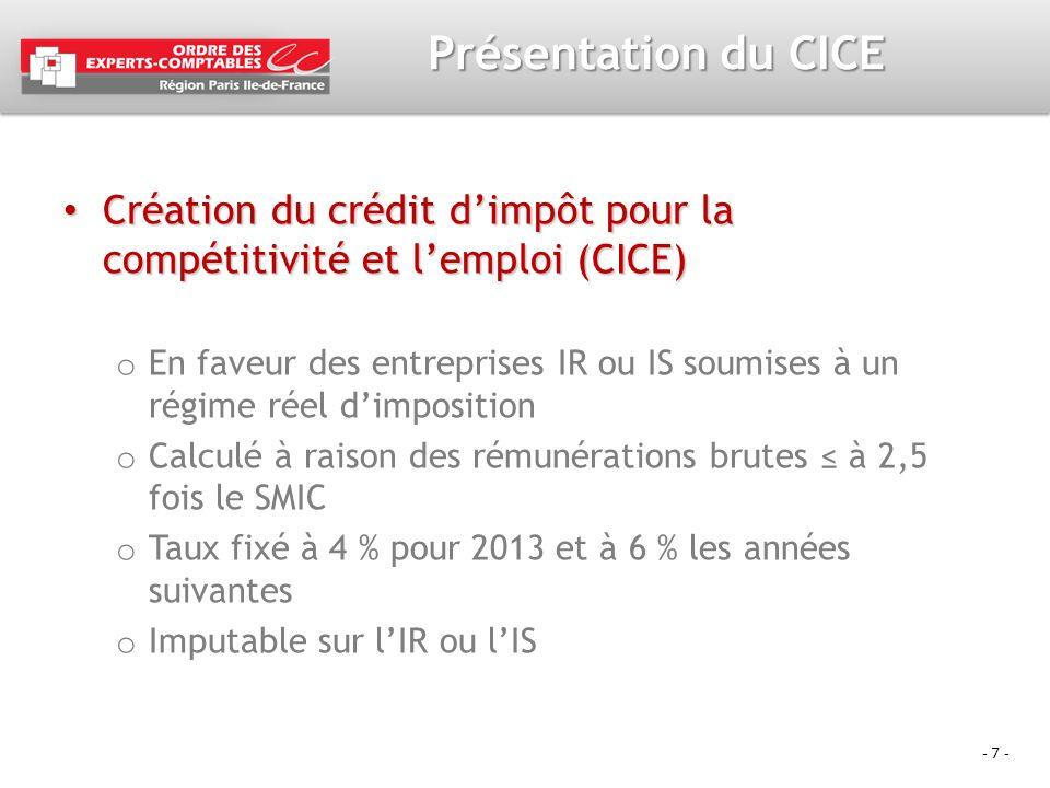 - 7 - Présentation du CICE Création du crédit dimpôt pour la compétitivité et lemploi (CICE) Création du crédit dimpôt pour la compétitivité et lemplo