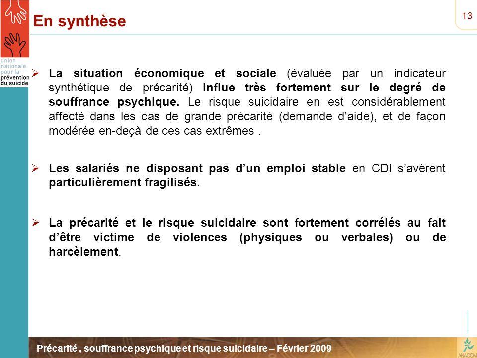 Précarité, souffrance psychique et risque suicidaire – Février 2009 En synthèse La situation économique et sociale (évaluée par un indicateur synthéti