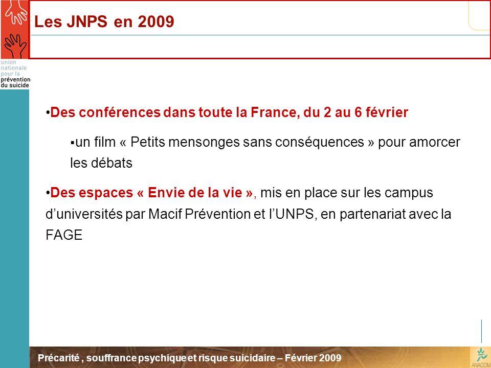 Précarité, souffrance psychique et risque suicidaire – Février 2009 Des conférences dans toute la France, du 2 au 6 février un film « Petits mensonges