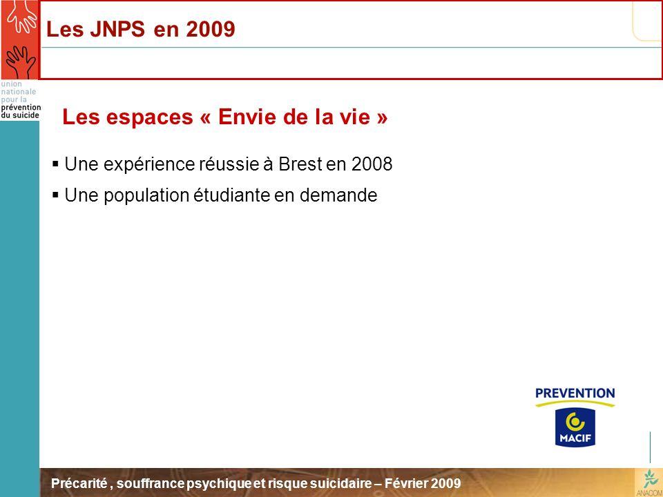 Précarité, souffrance psychique et risque suicidaire – Février 2009 Les espaces « Envie de la vie » Une expérience réussie à Brest en 2008 Une populat
