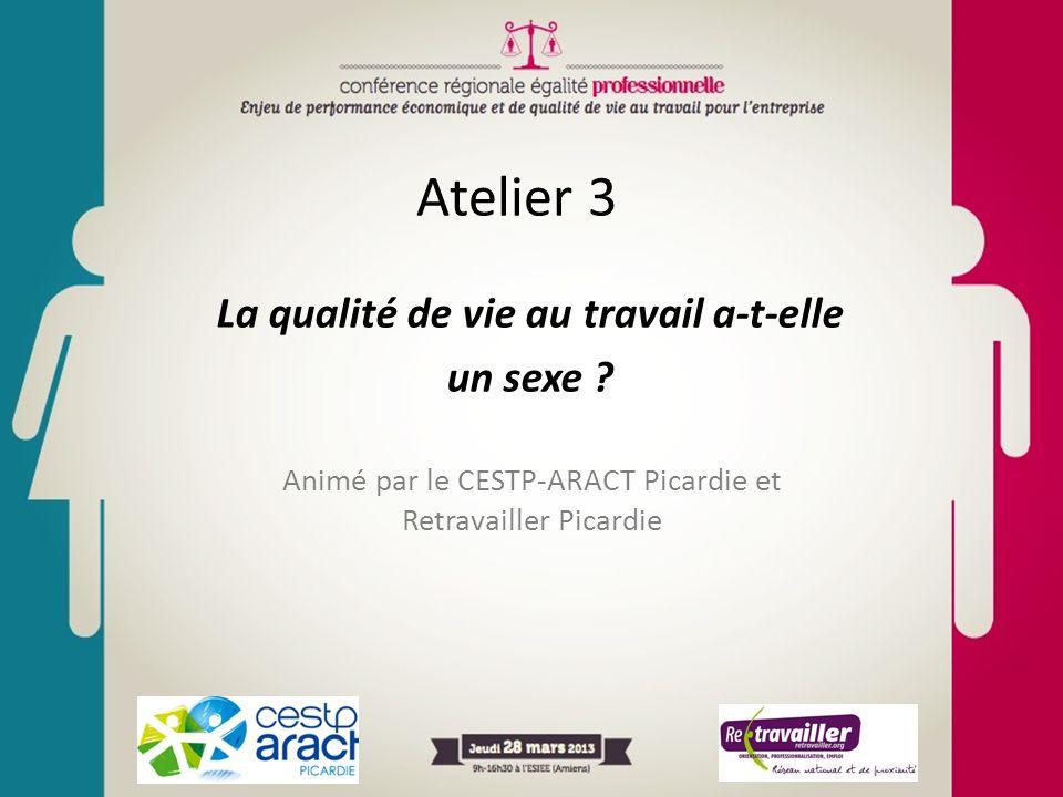 Atelier 3 La qualité de vie au travail a-t-elle un sexe ? Animé par le CESTP-ARACT Picardie et Retravailler Picardie