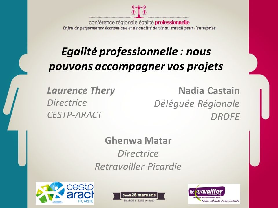Egalité professionnelle : nous pouvons accompagner vos projets Laurence Thery Directrice CESTP-ARACT Ghenwa Matar Directrice Retravailler Picardie Nad