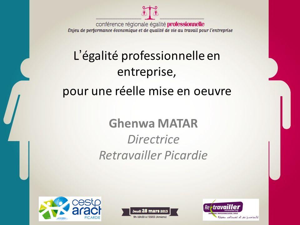 Légalité professionnelle en entreprise, pour une réelle mise en oeuvre Ghenwa MATAR Directrice Retravailler Picardie
