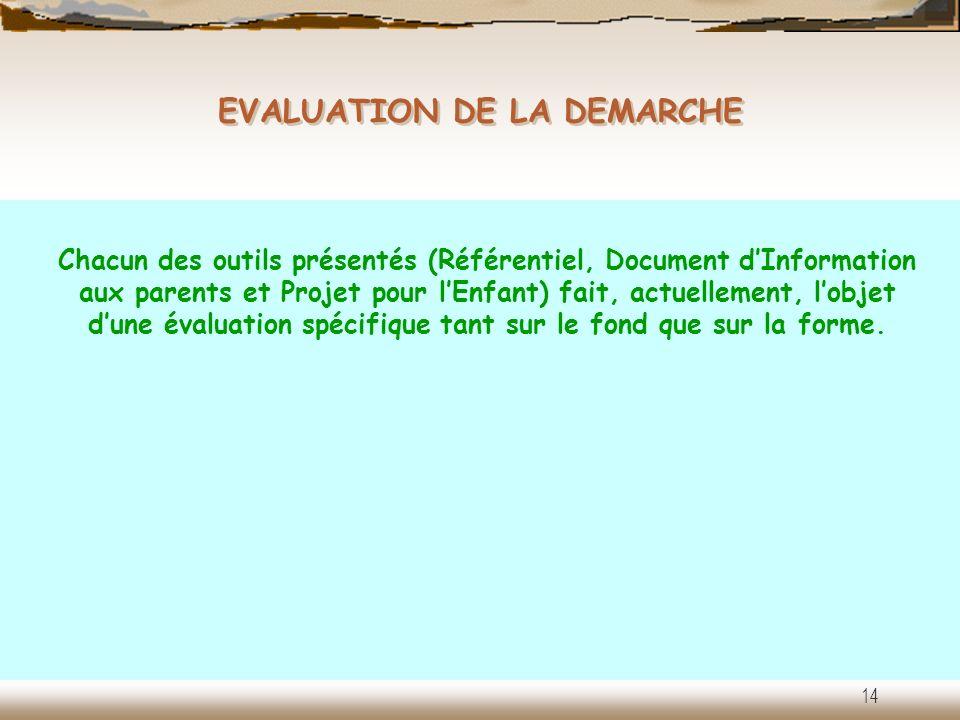 EVALUATION DE LA DEMARCHE 14 Chacun des outils présentés (Référentiel, Document dInformation aux parents et Projet pour lEnfant) fait, actuellement, l