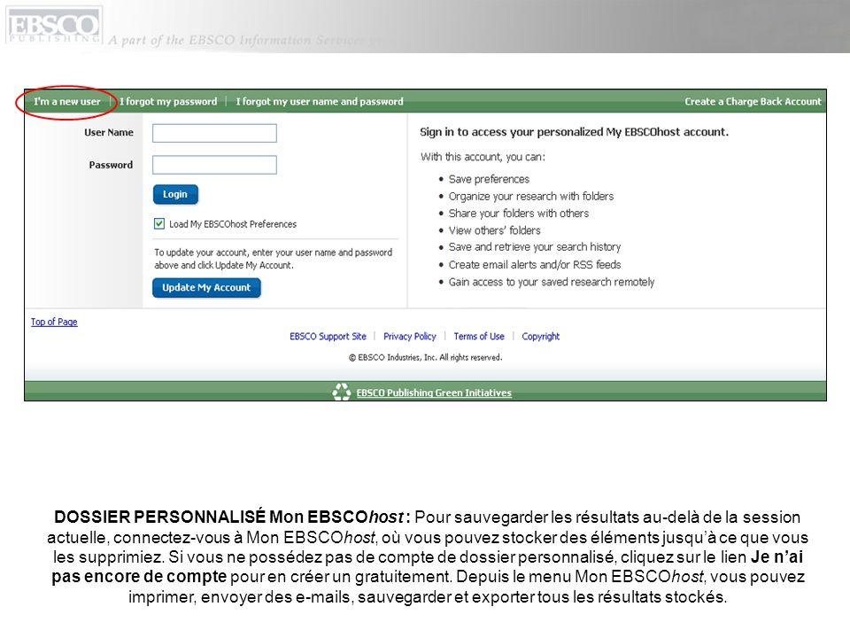 OPTIONS DHISTORIQUE DE RECHERCHE/ALERTES : Cliquez sur le lien Historique des recherches / Alertes dans le champ Trouver pour accéder aux options dhistorique de recherche.