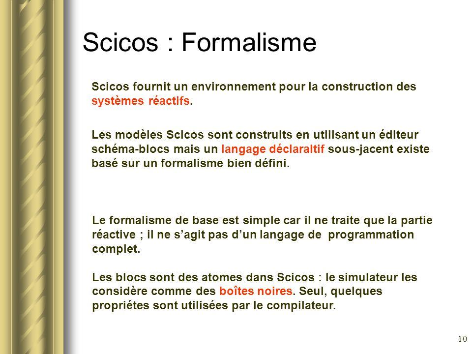 10 Scicos : Formalisme Scicos fournit un environnement pour la construction des systèmes réactifs. Les modèles Scicos sont construits en utilisant un