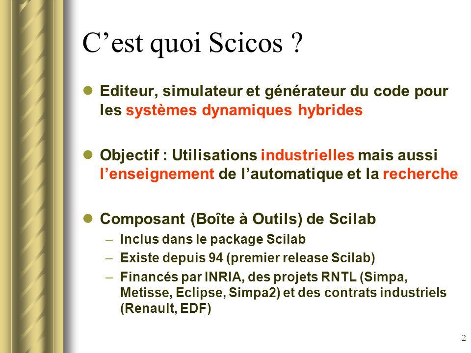 2 Cest quoi Scicos ? Editeur, simulateur et générateur du code pour les systèmes dynamiques hybrides Objectif : Utilisations industrielles mais aussi