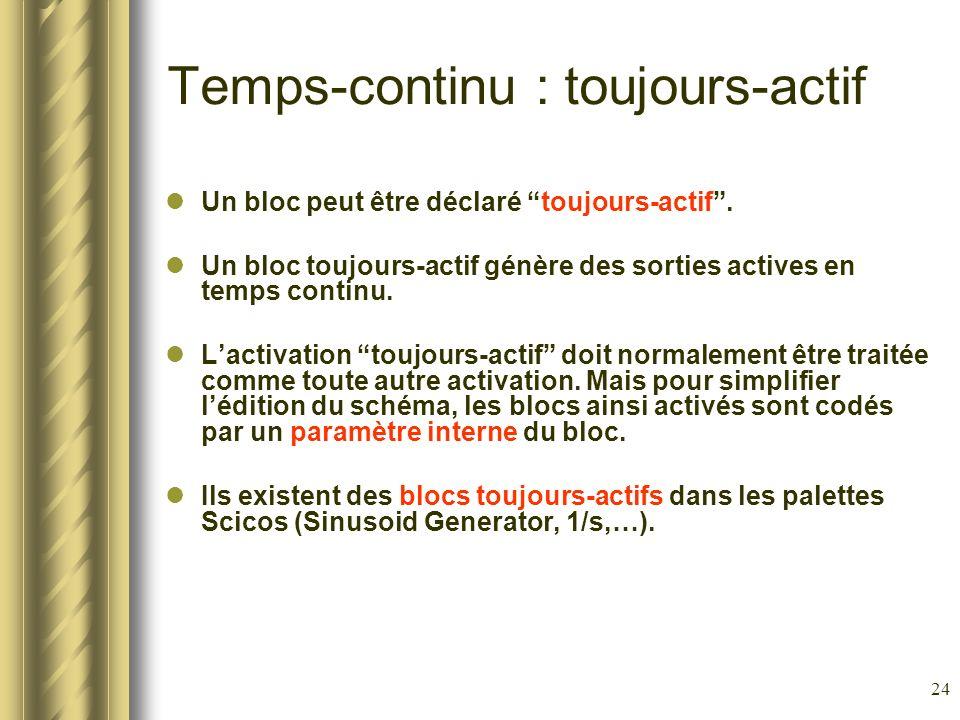 24 Temps-continu : toujours-actif Un bloc peut être déclaré toujours-actif. Un bloc toujours-actif génère des sorties actives en temps continu. Lactiv