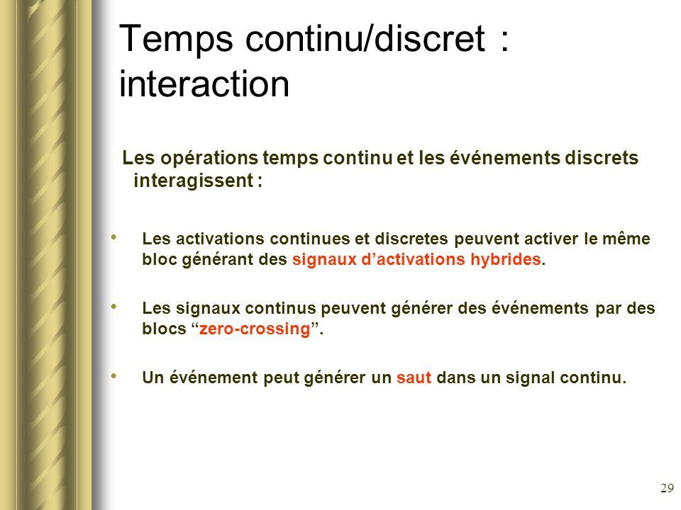 29 Temps continu/discret : interaction Les opérations temps continu et les événements discrets interagissent : Les activations continues et discretes