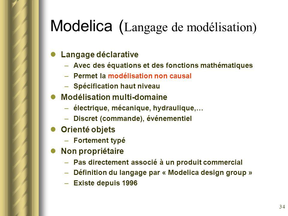 34 Modelica ( Langage de modélisation) Langage déclarative –Avec des équations et des fonctions mathématiques –Permet la modélisation non causal –Spéc