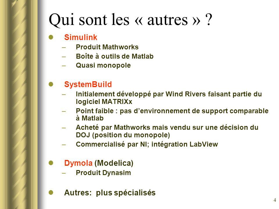 4 Qui sont les « autres » ? Simulink –Produit Mathworks –Boîte à outils de Matlab –Quasi monopole SystemBuild –Initialement développé par Wind Rivers