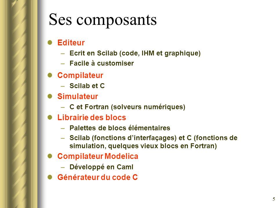 5 Ses composants Editeur –Ecrit en Scilab (code, IHM et graphique) –Facile à customiser Compilateur –Scilab et C Simulateur –C et Fortran (solveurs nu