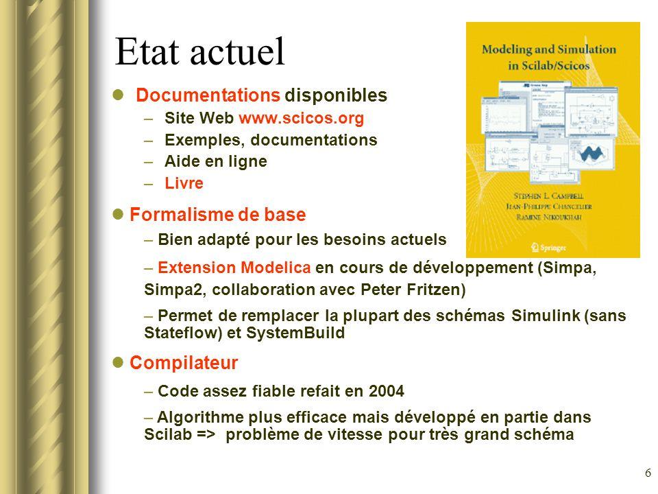 6 Etat actuel Documentations disponibles –Site Web www.scicos.org –Exemples, documentations –Aide en ligne –Livre Formalisme de base – Bien adapté pou
