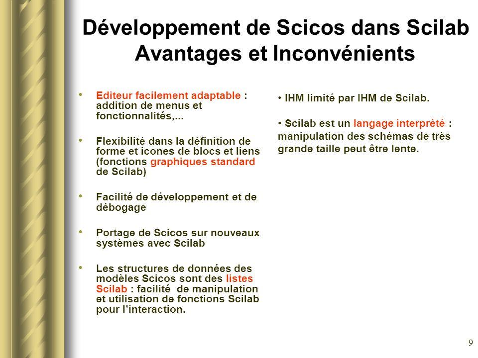 9 Développement de Scicos dans Scilab Avantages et Inconvénients Editeur facilement adaptable : addition de menus et fonctionnalités,... Flexibilité d