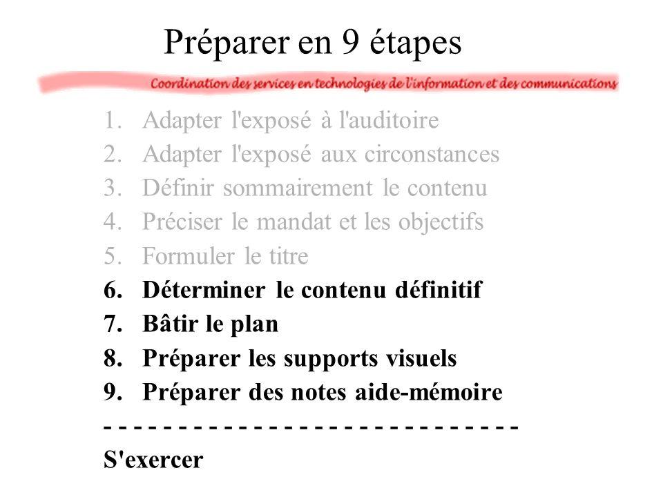 1.Adapter l'exposé à l'auditoire 2.Adapter l'exposé aux circonstances 3.Définir sommairement le contenu 4.Préciser le mandat et les objectifs 5.Formul
