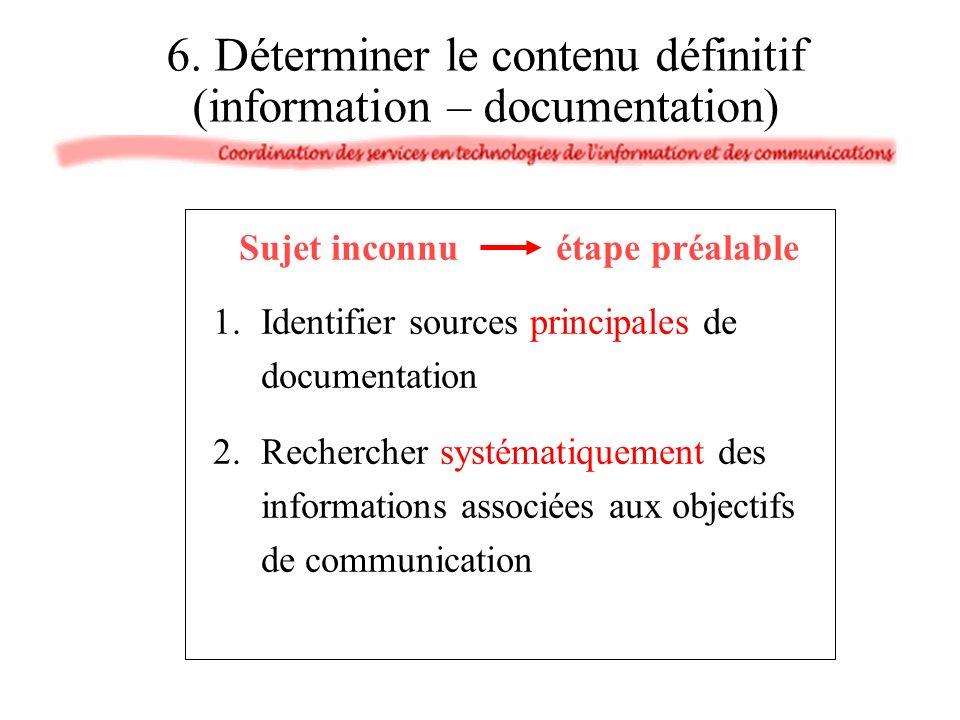 6. Déterminer le contenu définitif (information – documentation) Sujet inconnu étape préalable 1.Identifier sources principales de documentation 2.Rec