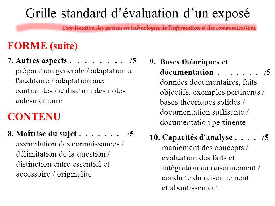 7. Autres aspects........ /5 préparation générale / adaptation à l'auditoire / adaptation aux contraintes / utilisation des notes aide-mémoire 9.Bases