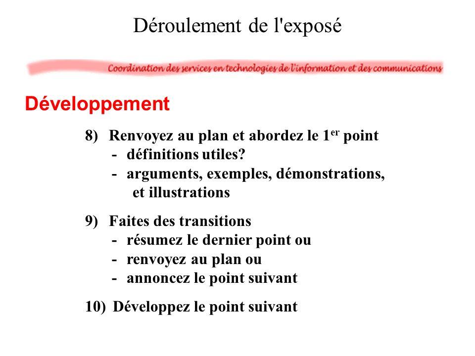 8)Renvoyez au plan et abordez le 1 er point -définitions utiles.