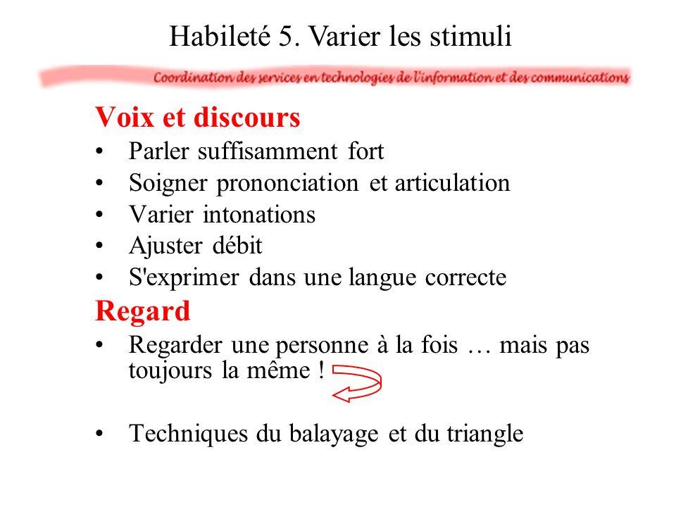 Voix et discours Parler suffisamment fort Soigner prononciation et articulation Varier intonations Ajuster débit S'exprimer dans une langue correcte R
