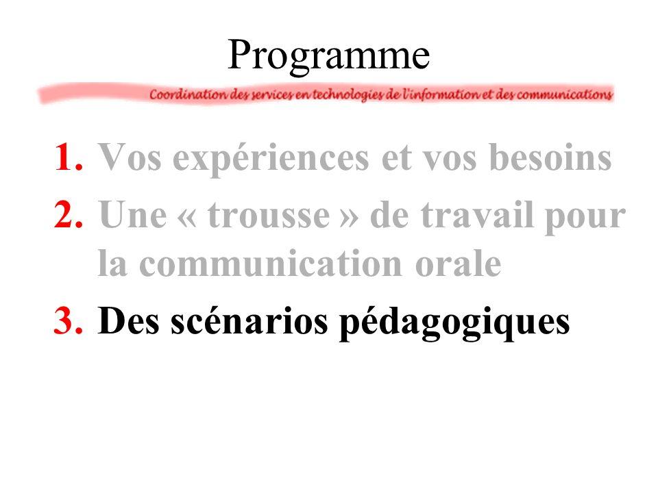 Programme 1.Vos expériences et vos besoins 2.Une « trousse » de travail pour la communication orale 3.Des scénarios pédagogiques