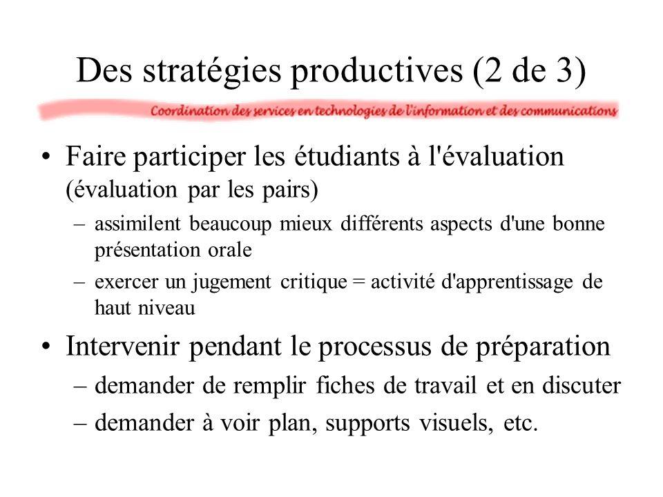 Des stratégies productives (2 de 3) Faire participer les étudiants à l'évaluation (évaluation par les pairs) –assimilent beaucoup mieux différents asp