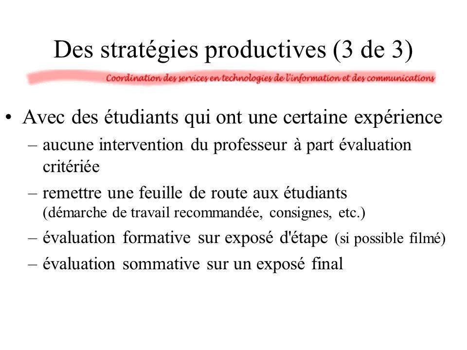 Des stratégies productives (3 de 3) Avec des étudiants qui ont une certaine expérience –aucune intervention du professeur à part évaluation critériée