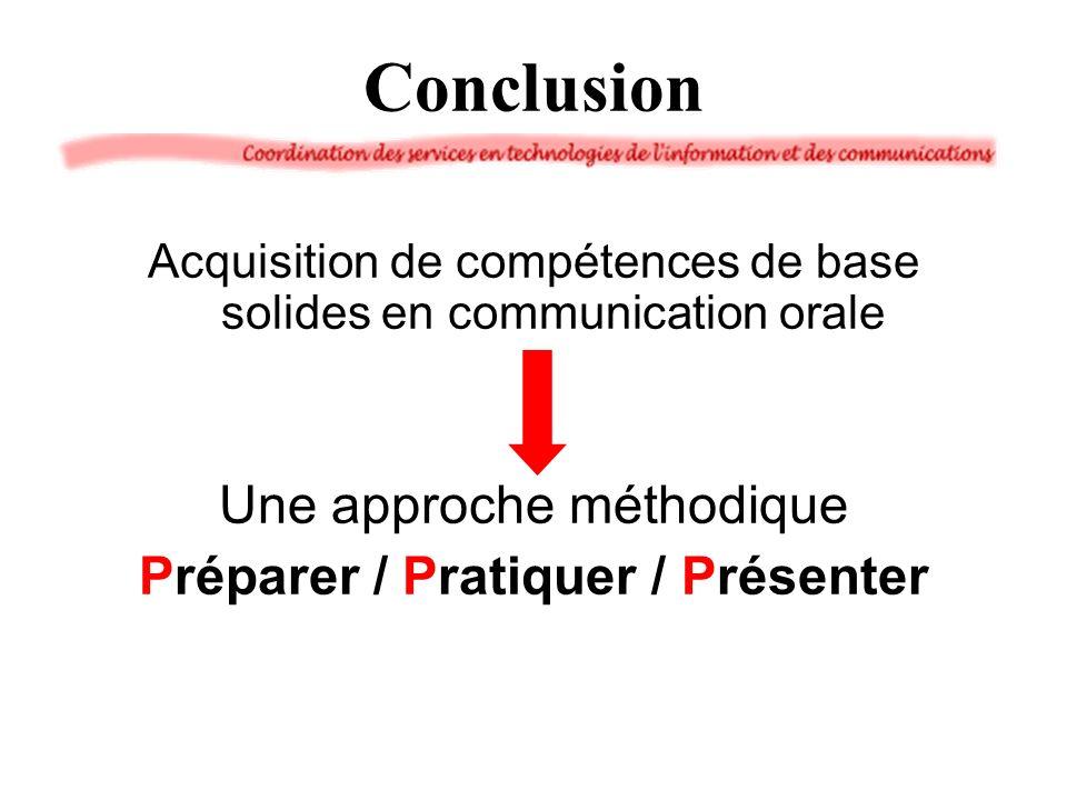 Conclusion Acquisition de compétences de base solides en communication orale Une approche méthodique Préparer / Pratiquer / Présenter