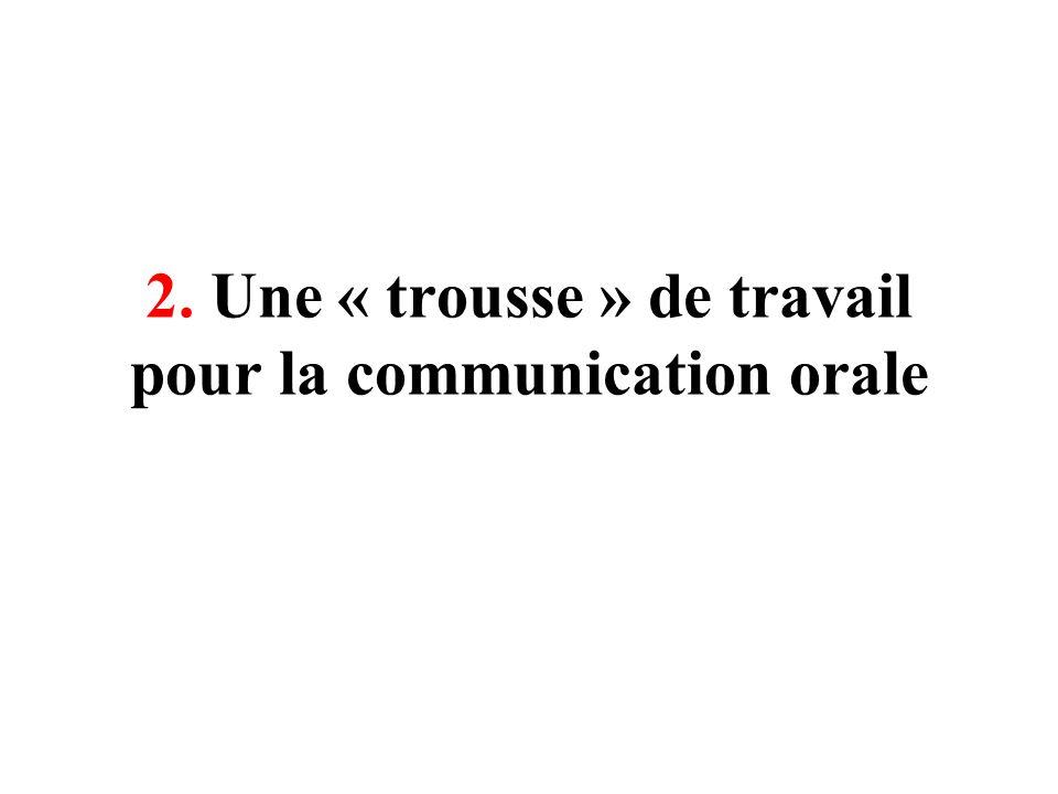 2. Une « trousse » de travail pour la communication orale