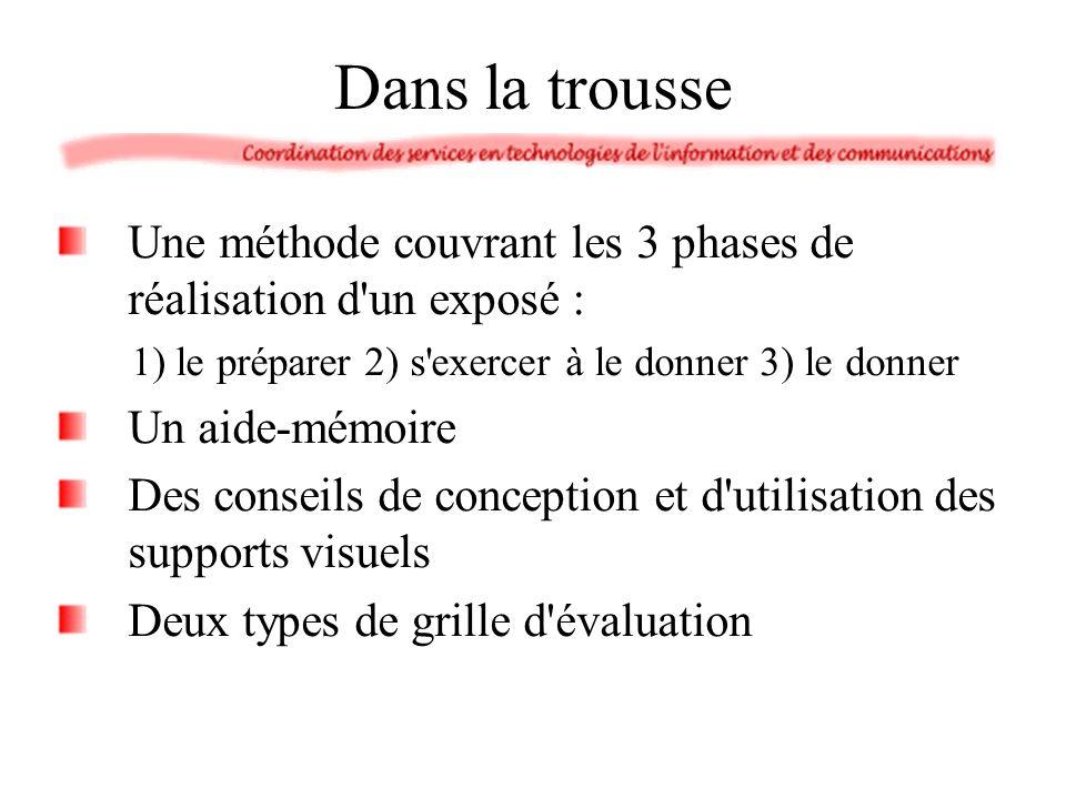 Dans la trousse Une méthode couvrant les 3 phases de réalisation d'un exposé : 1) le préparer 2) s'exercer à le donner 3) le donner Un aide-mémoire De