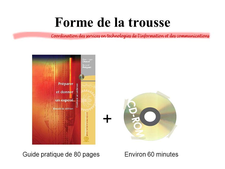 Forme de la trousse Guide pratique de 80 pages + Environ 60 minutes