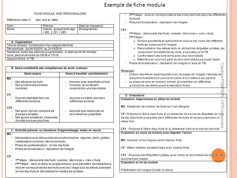 Caroline POMPIER - CPD maternelle Exemple de fiche module