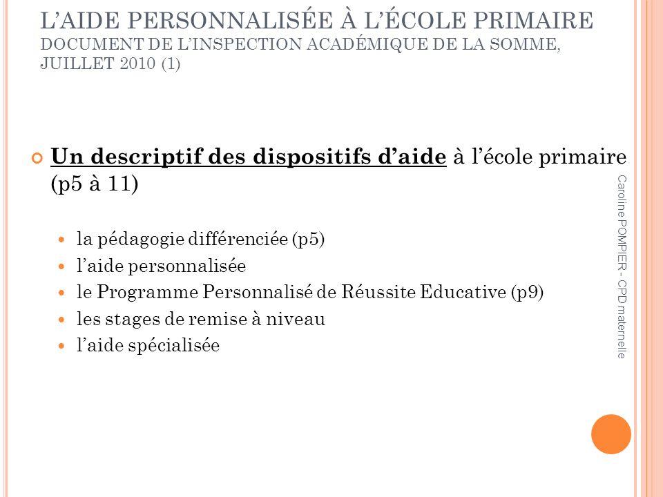 Caroline POMPIER - CPD maternelle LAIDE PERSONNALISÉE À LÉCOLE PRIMAIRE DOCUMENT DE LINSPECTION ACADÉMIQUE DE LA SOMME, JUILLET 2010 (1) Un descriptif des dispositifs daide à lécole primaire (p5 à 11) la pédagogie différenciée (p5) laide personnalisée le Programme Personnalisé de Réussite Educative (p9) les stages de remise à niveau laide spécialisée