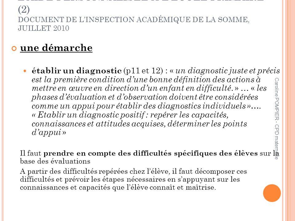 Caroline POMPIER - CPD maternelle LAIDE PERSONNALISÉE À LÉCOLE PRIMAIRE (2) DOCUMENT DE LINSPECTION ACADÉMIQUE DE LA SOMME, JUILLET 2010 une démarche
