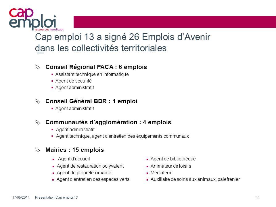 Cap emploi 13 a signé 26 Emplois dAvenir dans les collectivités territoriales 17/05/2014Présentation Cap emploi 1311 Conseil Régional PACA : 6 emplois