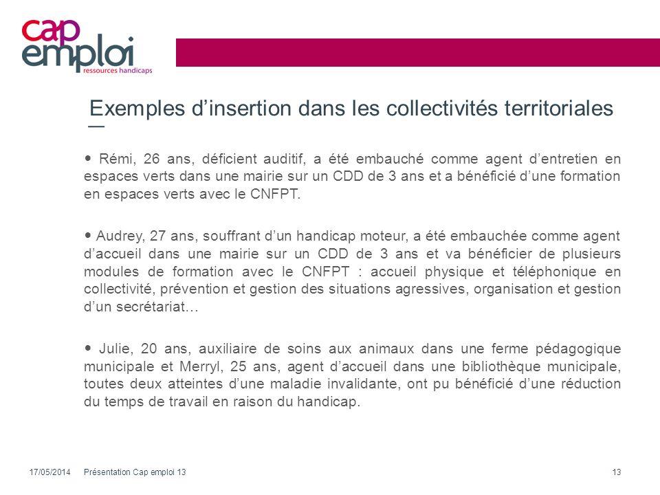 Exemples dinsertion dans les collectivités territoriales 17/05/2014Présentation Cap emploi 1313 Rémi, 26 ans, déficient auditif, a été embauché comme