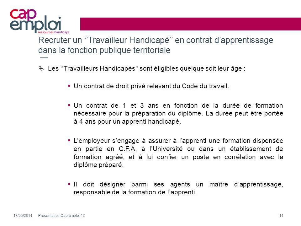 Recruter un Travailleur Handicapé en contrat dapprentissage dans la fonction publique territoriale 17/05/2014Présentation Cap emploi 1314 Les Travaill