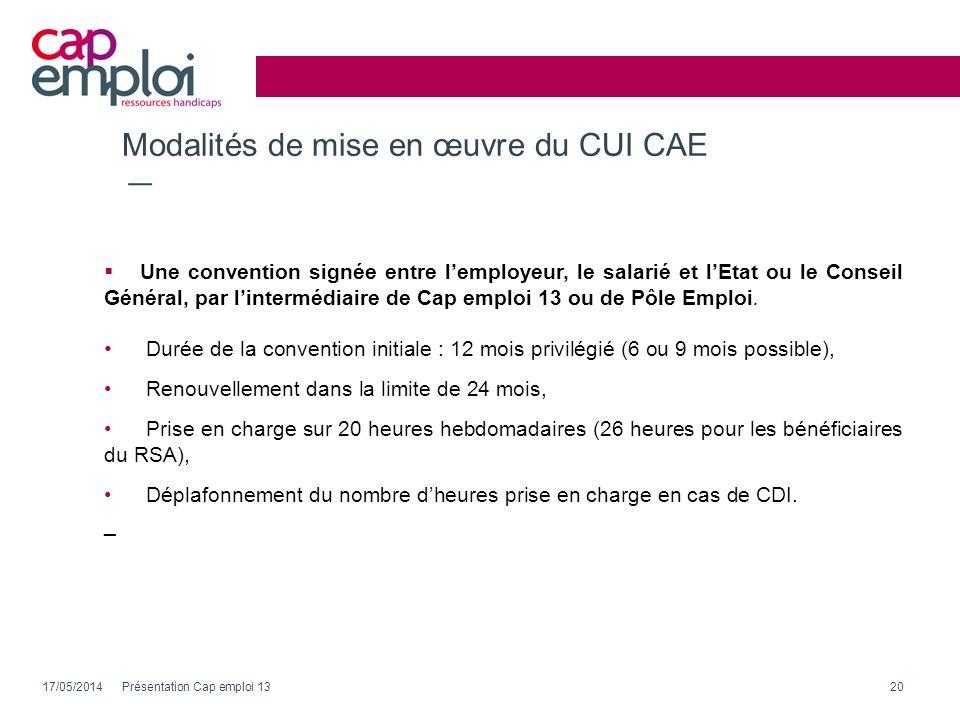 Modalités de mise en œuvre du CUI CAE Une convention signée entre lemployeur, le salarié et lEtat ou le Conseil Général, par lintermédiaire de Cap emp