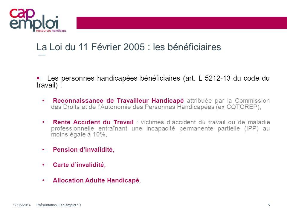 La Loi du 11 Février 2005 : les bénéficiaires Les personnes handicapées bénéficiaires (art. L 5212-13 du code du travail) : Reconnaissance de Travaill