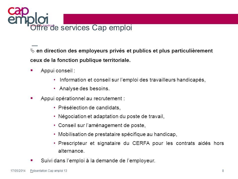 Offre de services Cap emploi en direction des employeurs privés et publics et plus particulièrement ceux de la fonction publique territoriale. Appui c