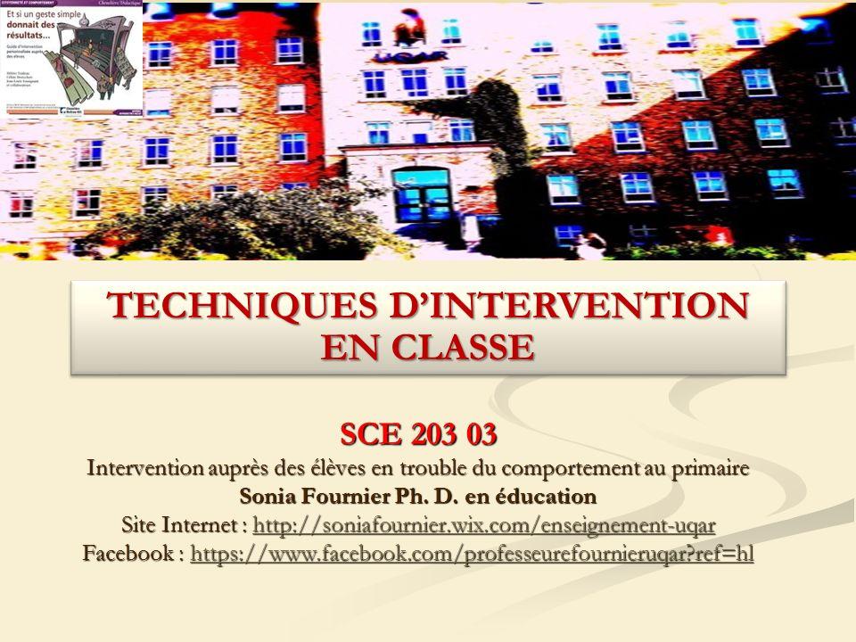 SCE 203 03 Intervention auprès des élèves en trouble du comportement au primaire Sonia Fournier Ph.