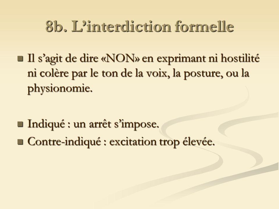 8b. Linterdiction formelle Il sagit de dire «NON» en exprimant ni hostilité ni colère par le ton de la voix, la posture, ou la physionomie. Il sagit d