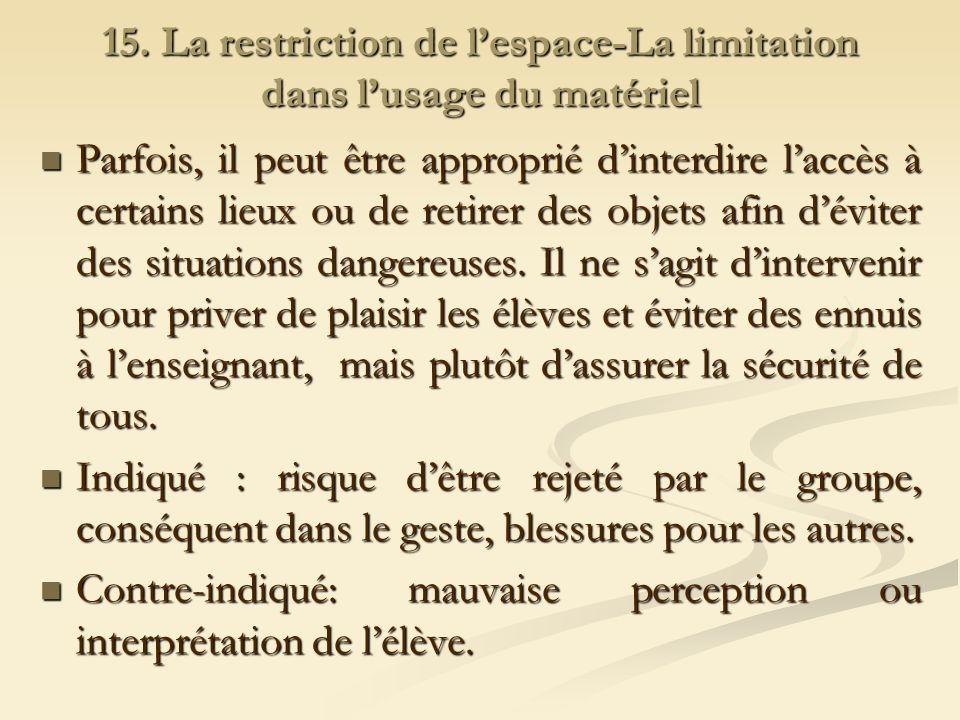 15. La restriction de lespace-La limitation dans lusage du matériel Parfois, il peut être approprié dinterdire laccès à certains lieux ou de retirer d