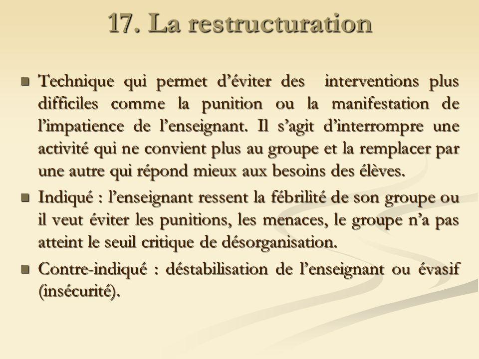 17. La restructuration Technique qui permet déviter des interventions plus difficiles comme la punition ou la manifestation de limpatience de lenseign