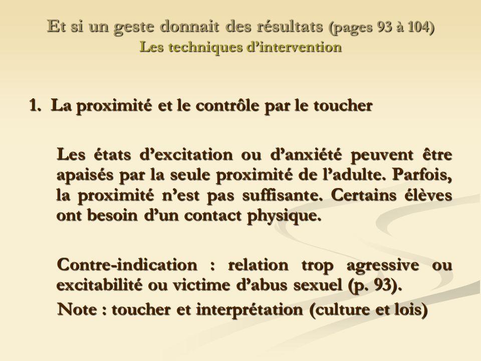 Et si un geste donnait des résultats (pages 93 à 104) Les techniques dintervention 1.