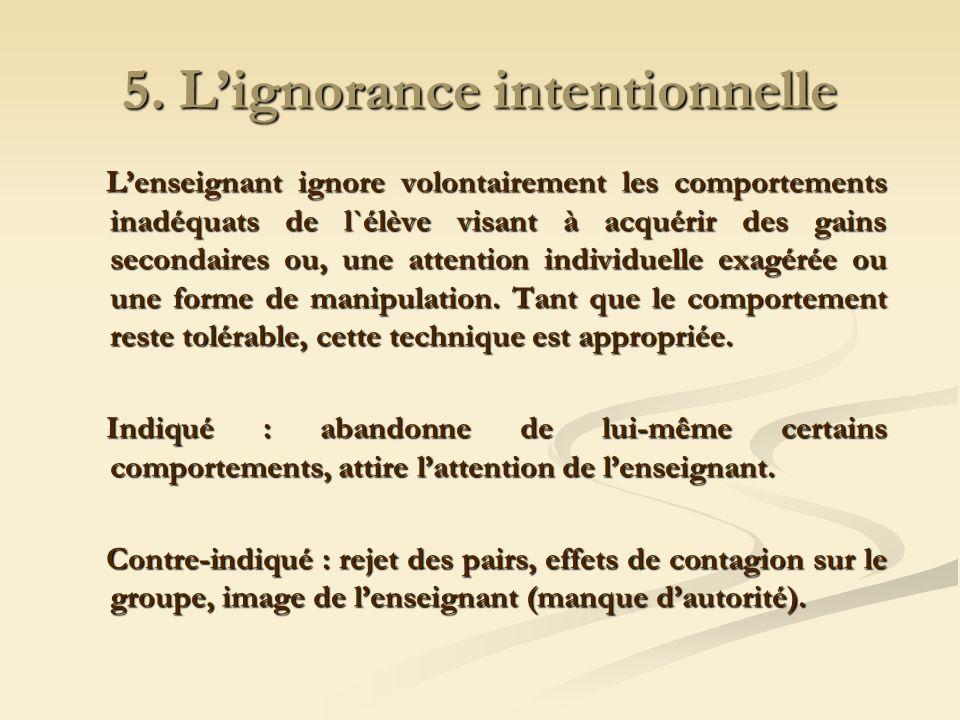 5. Lignorance intentionnelle Lenseignant ignore volontairement les comportements inadéquats de l`élève visant à acquérir des gains secondaires ou, une